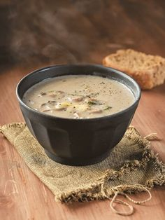 Mushroom soup with Greek smoked cheese - www. Smoked Cheese, Greek Salad, Mushroom Soup, Greek Recipes, I Foods, Food To Make, Stuffed Mushrooms, Food Porn, Food And Drink