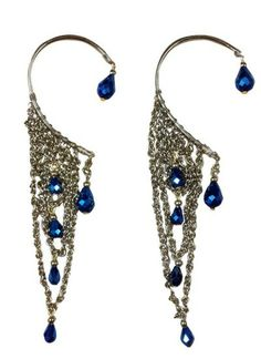 Enchanting Earcuffs with Blue Beads by Sannam Chopra | Indian Jewellery | Indian Designers