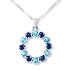 Lab-Created Sapphire Circle Necklace Blue Topaz Sterling Silver
