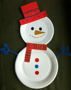 Christmas decorations ideas DIY snowman yourself DIY disposable plates paper