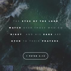 "For the eyes of the Lord are on the righteous and his ears are attentive to their prayer, but the face of the Lord is against those who do evil.""  1 Peter 3:12 NIV"