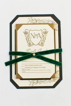 Yonder Design | Art Nouveau, Wedding Inspiration, Letterpress, Bronzing, Fall Wedding, Calistoga Ranch, California Wedding, Wedding Invitation, Monogram, Gold Design, Emerald, Green Velvet, Velvet Ribbon, Black Liner, Velvet Invitation, Custom Wedding