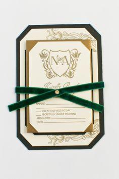 Yonder Design | Art Nouveau, Wedding Inspiration, Letterpress, Bronzing, Fall Wedding, Calistoga Ranch, California Wedding, Wedding Invitation, Monogram, Gold Design, Emerald, Green Velvet, Velvet Ribbon, Black Liner, Velvet Invitation, Custom Wedding