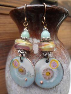 Enameled Copper Dangle Earrings OOAK Artisan by FeminineGenius