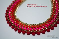 A wonderful necklace tutorial. A lovely necklace made using chain, pom-pom lace and thread.