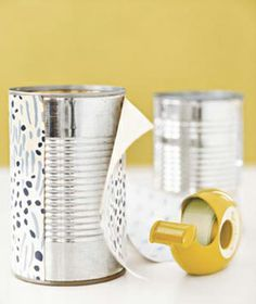 decorate old cans with wall paper + double sided tape for cute container's