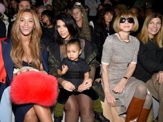 Beyonce, Kim Kardashian West, North West and Anna Wintour at New York Fashion Week.