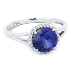 1.77ct Round Brilliant Cut Lab-Created Sapphire & Diamond Halo Promise Ring in 14k White Gold - AM-DR13456 - AlfredAndVincent.com