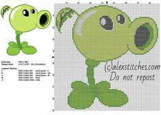 Peashooter Plants vs Zombies videogame free cross stitch pattern