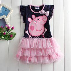 2016 nova peppa pig vestido de los bebés del verano nuevas niñas tutu dress 100% algodón niños ropa traje 2 - 7 T negro traje de los niños(China (Mainland))                                                                                                                                                     Más