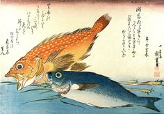 Set of 8 Reproduction Japanese Fish Scenes, Prints by Ando Utagawa Hiroshige, Canvas Textured Prints on a Heavyweight Fine Art Paper (29 x 21cm): Amazon.co.uk: Kitchen & Home
