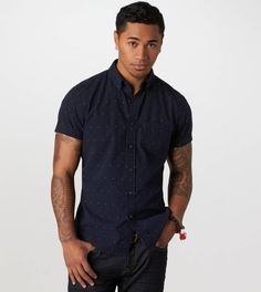 AE Embroidered Short Sleeve Button-Down