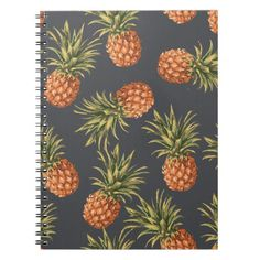 Tropical Pineapple Pattern Notebook
