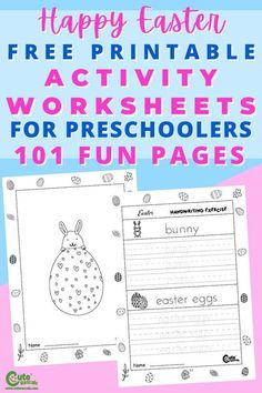 Give kids fun new worksheets. They will love this set of 101 pages of free printable Easter worksheets for kindergarten. Click this pin to download. #Easter #Easterworksheets #Eastercoloring… More