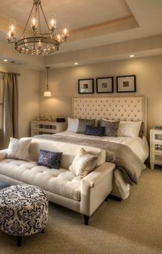Bedroom furniture ideas - This décor features basic colors in white, brown, black, ash and blue. Simple is sexy. www.homemagez.com