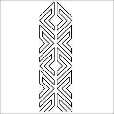 """3"""" Row (interlocking overall design) - 4"""" x 13"""" Stencil"""