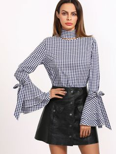 Online shopping for Navy Gingham Cutout Neck Bow Tie Bell Sleeve Blouse from a great selection of women's fashion clothing & more at MakeMeChic.COM.