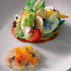 Ducasse's kaleidoscopic vegetable appetizer with mullet carpaccio.  #plating #presentation