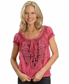 peasant shirts for women   Rock & Roll Cowgirl Hot Pink Peasant Shirt - Sheplers