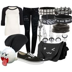 Untitled - - A fashion look from August 2013 featuring sheer top, cotton skinny jeans and messenger bags. Browse and shop related looks. Grunge Outfits, Scene Outfits, Punk Outfits, Batman Outfits, Emo Fashion, Gothic Fashion, Fashion Looks, Fashion Outfits, Womens Fashion