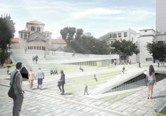 Winners Announced in Competition to Design Cultural Square in Seoul,Time Connector. Image Courtesy of Sejongdaero Competition Landscape Architecture, Landscape Design, Architecture Design, Seoul, Apropiación Cultural, Sport Park, Call For Entry, Floating, Urban Planning