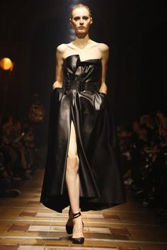Lanvin Ready To Wear Fall Winter 2014 Paris...Gorgeous!!! Love the silhouette & the flow of the leather. Imagine this in white with embellishments for that bridal look.