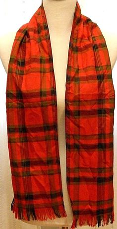 """Red Plaid Fringed Scarf Wrap Christmas Holiday 7.5"""" width, 58"""" length #Unknown #Scarf"""