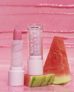 Glow Recipe Watermelon Glow Lip Pop: A three-in-one scrub-to-balm that smooths, hydrates, and tints lips in a universal pop of pink. Gloss Labial, Lip Sence, Glitter Lip Gloss, Glitter Lips, Best Lip Balm, Lip Fillers, Lip Moisturizer, Natural Lips, Natural Beauty