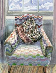 Richard Bawden - Patterned Chair, watercolour on paper, Patterned Chair, Wingback Chair, 21st Century, Still Life, Interior And Exterior, Photo Art, Accent Chairs, Illustration Art, Photos