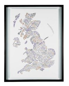 Literary Britain map - a well-recognized poster from the Literary Gift Company. Designed by Geoff Sawers, it's a hand-lettered map of literary Britain. As much as 183 authors are featured in original geographically-linked design.