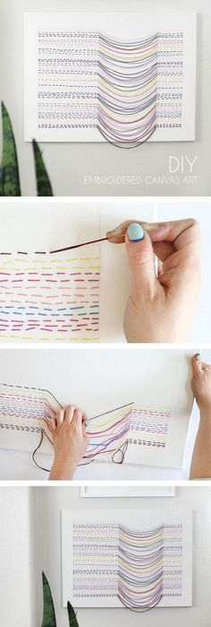 Make your own DIY embroidered canvas wall art. This art piece is simple to make … Make your own DIY embroidered canvas wall art. This art piece is simple to make and has great visual interest. Step-by-step instructions Fun Crafts, Diy And Crafts, Arts And Crafts, Decor Crafts, Wall Art Crafts, Party Crafts, Upcycled Crafts, Resin Crafts, Diy Bordados