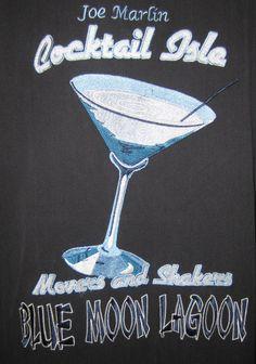 100 % Silk Joe Marlin Hawaiian Shirt Cocktail Isle Blue Moon Lagoon SZ XL Black #JoeMarlin #Hawaiian