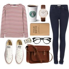 +1000 followers! by hanaglatison on Polyvore featuring Saint James, Topshop, Converse, The Cambridge Satchel Company and Daniel Wellington