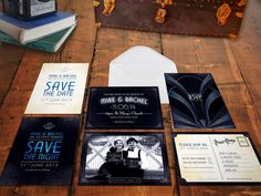 Old Hollywood Wedding Invitation Suite: With gorgeous Art Deco influence, this wedding invitation suite ushers in all the glamour of Old Hollywood. Why not turn your wedding into a Gatsby-inspired costume party?