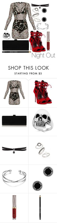 """""""Night Out"""" by leonorgomes on Polyvore featuring Giuseppe Zanotti, Edie Parker, Effy Jewelry, Fallon, Topshop, Marc Jacobs, Urban Decay and Bobbi Brown Cosmetics"""