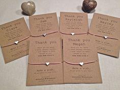 *Party Thank You* Wish Bracelet Friendship personalised wedding favour Kraft | eBay
