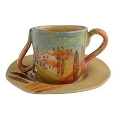 Italian Dinnerware - Decorated Espresso Cup and Saucer Set Two Handled Cup with Slanted Rim - Handmade in Italy from our Sogno Toscano Collection * Visit the image link more details.