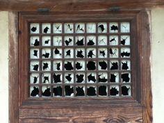Holes in a wooden window.