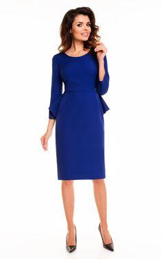 Blue 3/4 Sleeve Back Frill Midi Dress - SilkFred