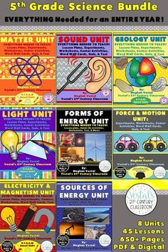 This 5th Grade Science Unit Bundle includes detailed lesson plans, hands-on activities, worksheets, assessments, and more. Aligned to the Virginia SOLs. PDF and digital activities included. #vestals21stcenturyclassroom #science #teachingscience #scienceunit #sciencelessons #sciencelessonplans