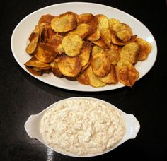 Homemade chips and french onion dip. Awesome game day snacks!