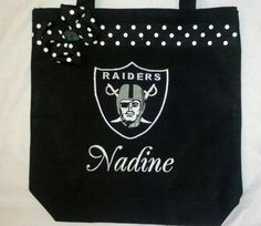 Personalized Raiders Football Tote Bag by MyDesertCutie on Etsy, $20.00
