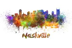 A beautiful watercolor painting of the Nashville skyline