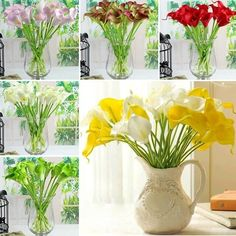 20 PCS Head Calla Lily Wedding Bouquet Flower Bouquets Bridal Latex Real Touch