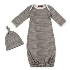 Organic Gown and Hat Gift Set (Gray)