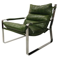 Image of Mid Century Leather & Chrome Sling Chair