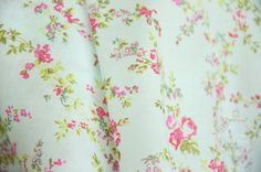 Shabby chic Indian Cotton Fabric. Floral Cotton. Extra wide 54 inch. Roses on Pale Mint.