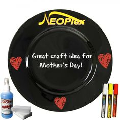 Great craft idea for Mother's Day. #Neoplex #Plate #Crafts #Kids #LiquidChalkMarkers #DIY #Mother'sDay #Gift #WaterproofMarkers