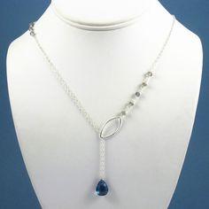 Celeste Gemstone Lariat Necklace - London Blue Topaz, Labradorite, Sterling Silver. $66.00, via Etsy.