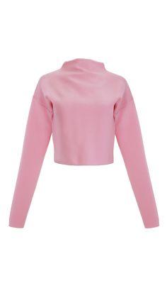 Tibi - Ribbed Mock Neck Cropped Sweater
